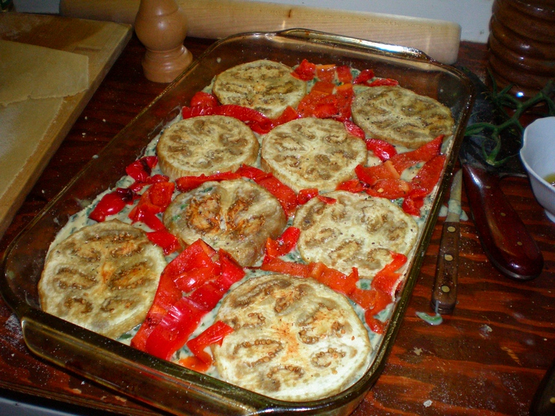 layer of eggplant and peppers